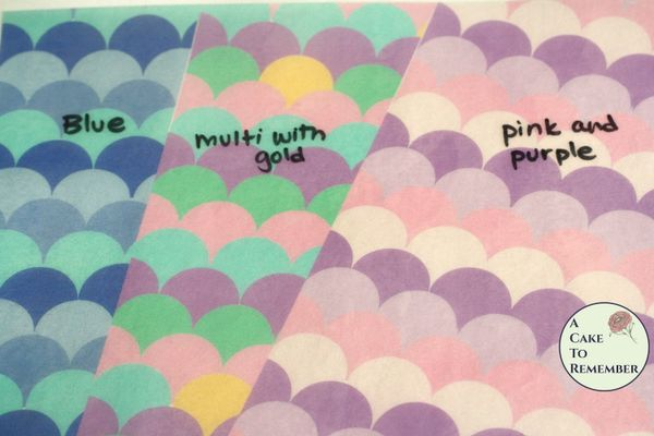 3 full sheets mermaid scale printed wafer paper for cake decorating. Free US shipping