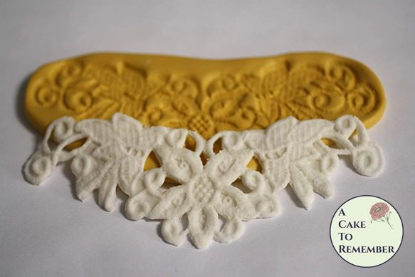 """Silicone flower cutwork lace mold for cake decorating. 6"""" wide. Gumpaste mold, chocolate mold, polymer clay mold, resin mold. M5128"""