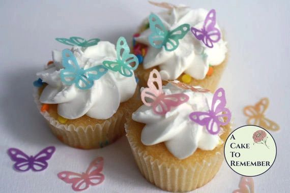 "36 1"" wide lacy edible wafer butterflies for cupcakes and cake pops."