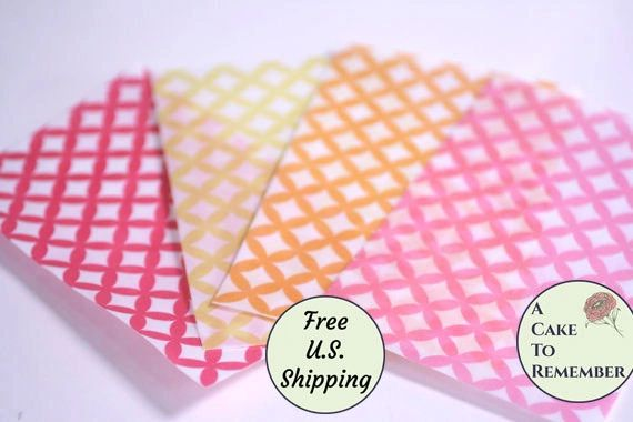 3 full sheets wedding ring pattern printed wafer paper, free US shipping