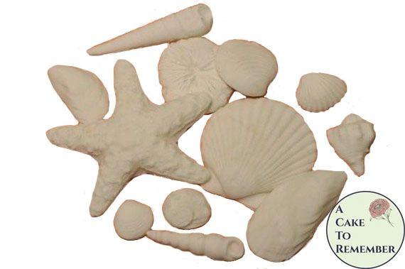 White Sugar Seashells- Variety for cake decorating and wedding cakes. Gumpaste edible seashells