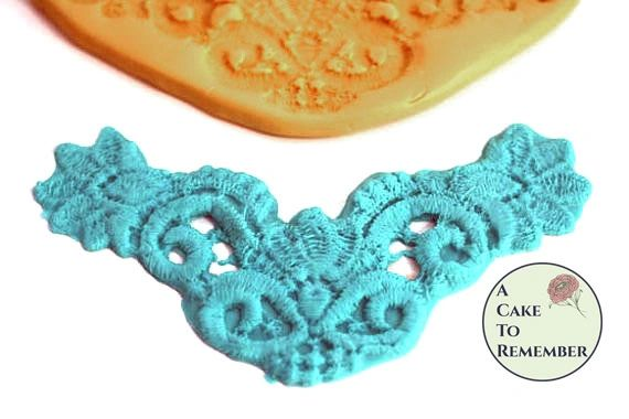 Lace drape medallion silicone mold floral swag for cake decorating M1067