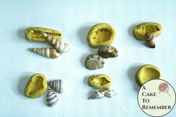 Silicone seashell mold set for cake decorating M1054