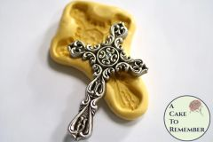 "Large 3.5"" ornate cross food safe silicone mold"