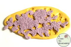 Flower and swirl silicone lace mold for cake decorating M5180