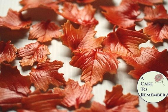 12 Autumn gumpaste leaves for cake decorating