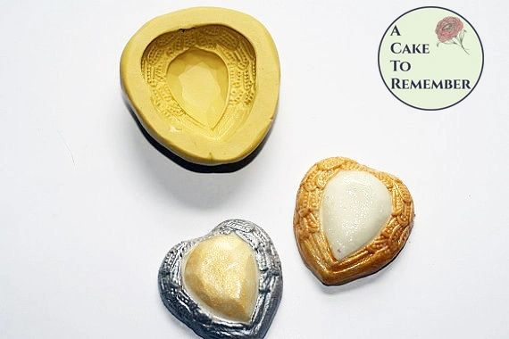 Jeweled heart silicone mold for soap embeds M026