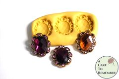 Three oval framed jewels mold for cake decorating or polymer clay. M5173