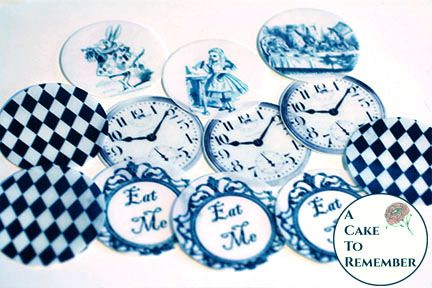 12 assorted patterns Alice In Wonderland wafer paper images for cake decorating and cookies.