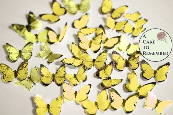 48 small yellow edible butterfly decorations for baking and cakes