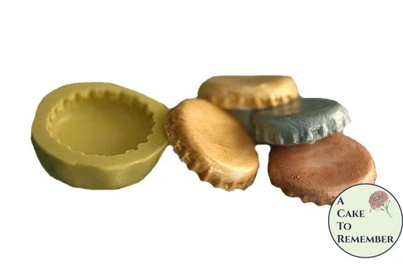 Bottle cap silicone mold for polymer clay or cakes. M07