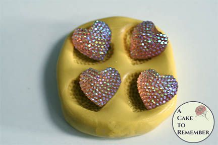 Four hearts flexible silicone mold M5207