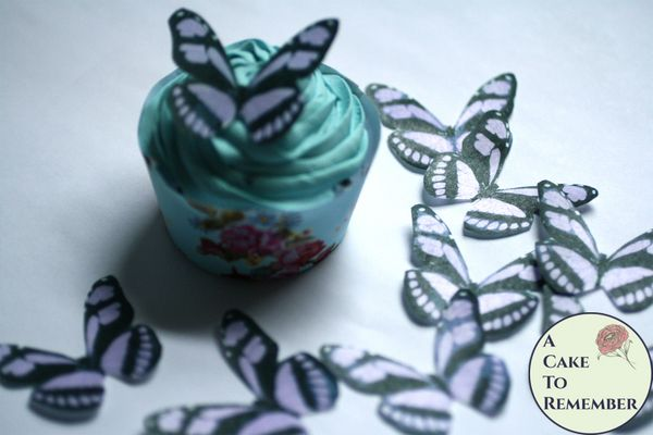"""15 2"""" wide lavender wafer paper edible butterfly cupcake toppers"""