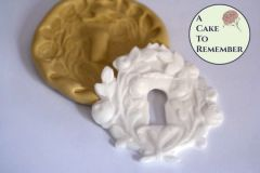 Rose key hole silicone mold for cake decorating or polymer clay. M5035
