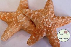 Six gumpaste Starfish, white or colored, for cake decorating, sugar seashells for beach cakes