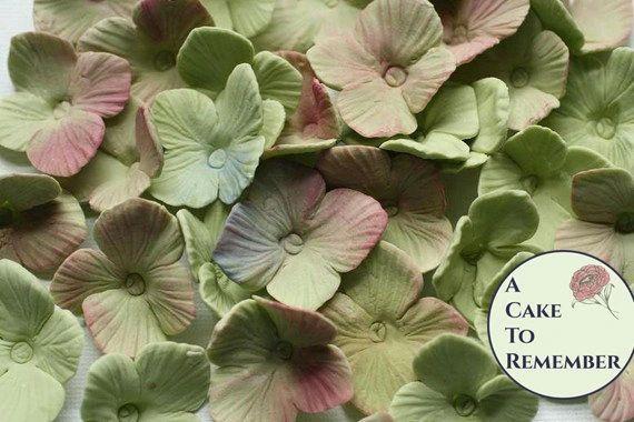 25 gumpaste hydrangeas, sugar flowers for cake decorating