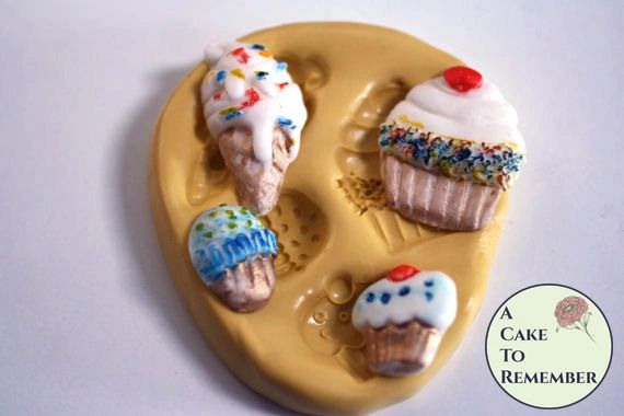 Ice cream and cupcakes silicone mold for soap embeds or fondant M5044