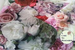 Peonies and roses printed wafer paper- 3 edible sheets for cake decorating