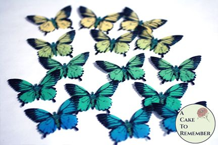 "15 green, yellow and blue edible butterflies, 2"" wide"