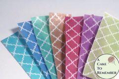 3 full sheets quatrefoil pattern printed edible wafer paper