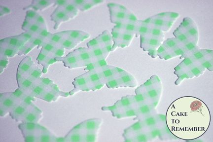 24 green gingham edible butterflies for cake decorating