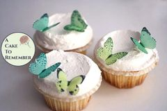 24 small shades of green edible butterflies for mini cupcake toppers