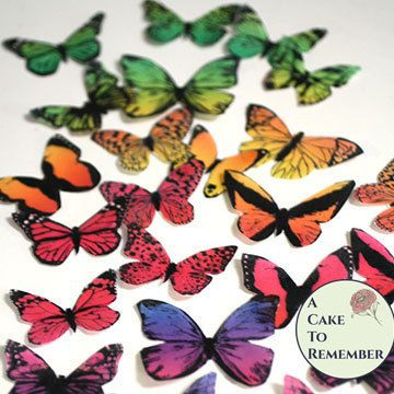 30 rainbow wafer paper butterflies cupcake topper for birthdays