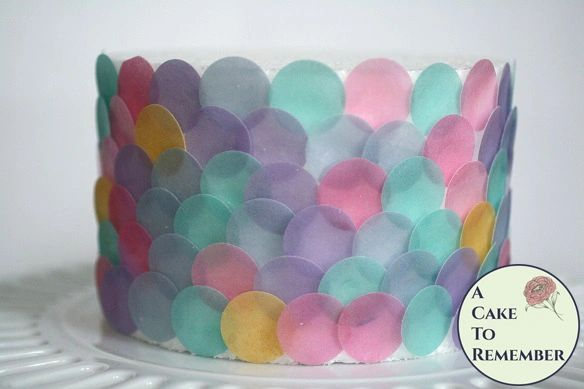 "Mermaid party cake decorations, 160 1"" edible wafer paper dots."