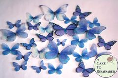 26 blue butterfly edible cupcake toppers for wedding