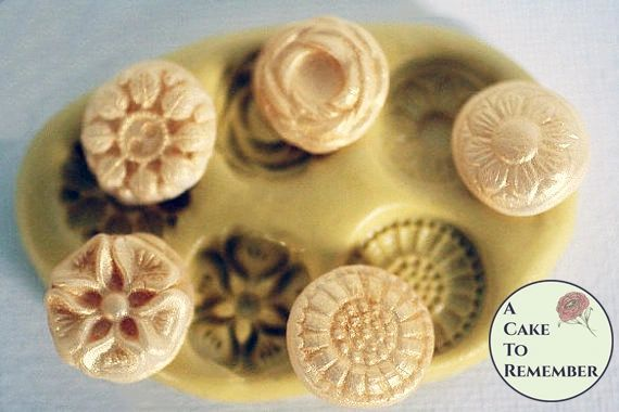 Silicone flower buttons mold for soap embeds M1043