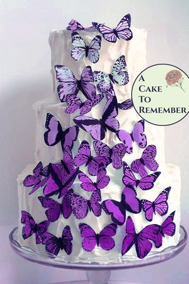 30 lavender ombre wafer paper butterflies for wedding cake decorating and cupcake toppers