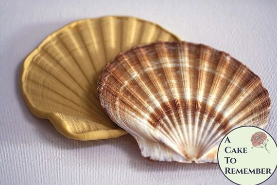 Large flat shell silicone mold for fondant seashells. M5060