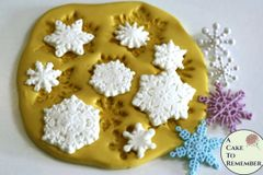 Snowflake flexible silicone mold for cakes or melt and pour soap making M017