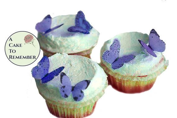 24 small violet/ blue butterflies for mini cupcake decorations