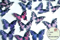 36 pink and purple edible cake decorating butterflies