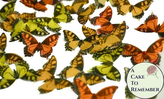 24 orange and yellow edible butterflies for cake decorating