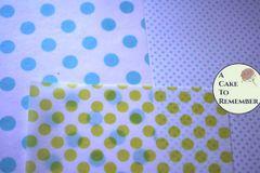 3 Edible wafer paper sheets, printed polka dots pattern