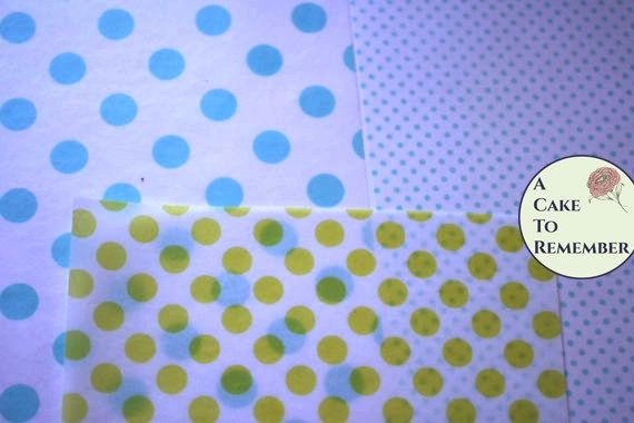 """3 sheets polka dot printed wafer paper (choose one color) for cake or cupcake decorating. 8"""" x10"""" Edible paper prints"""