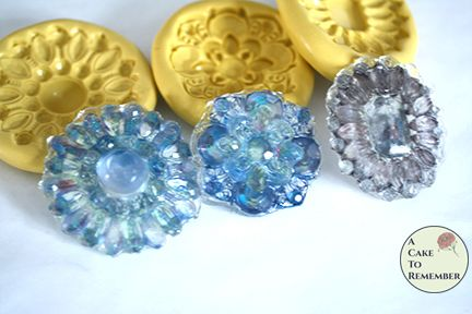 Brooch set for 9 isomalt and wafer paper brooches