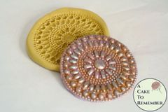 Silicone rhinestone and pearls medallion elegant lace mold M5087