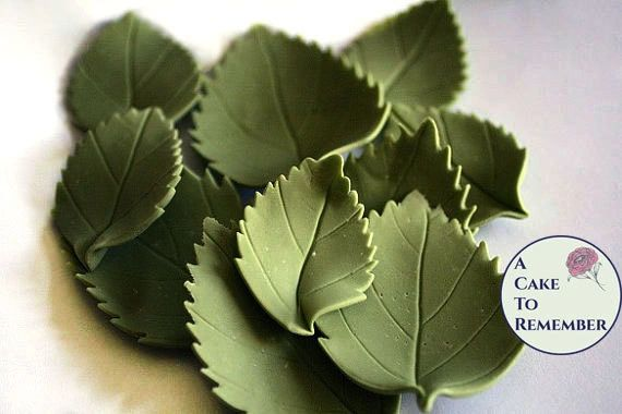 12 gumpaste hydrangea leaves for cake decorating