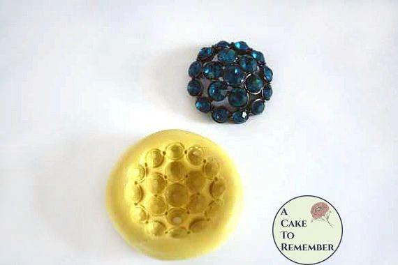 "Jeweled rhinestone silicone mold for cake decorating, 1"" across M1101"