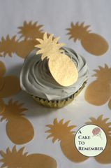 12 wafer paper gold pineapple images for cupcake toppers