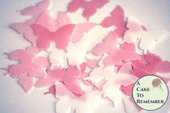 Ombre pink edible butterflies for baby shower cakes