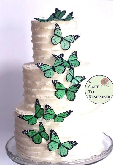 12 green birthday cupcake toppers edible butterflies.