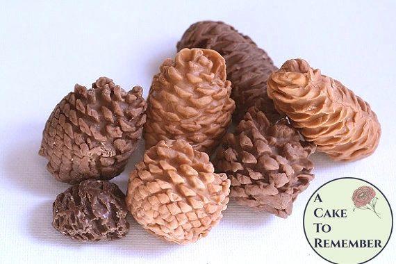 10 Gumpaste pine cones for cake decorating