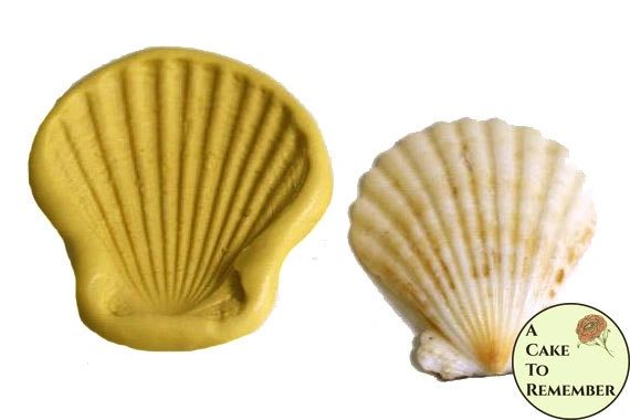 Clam shell seashell mold for cake decorating or polymer clay, beach cakes, gumpaste shell mold, fondant shell mold.