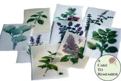 12 vintage botanical herbs and flowers edible wafer paper images