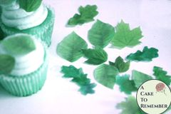 "24 small edible leaves for cupcakes, 1/2""-1.25"" sizes, shades of green."