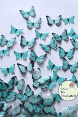 48 small teal edible cake decorating butterflies